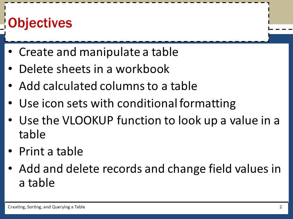 Objectives Create and manipulate a table Delete sheets in a workbook
