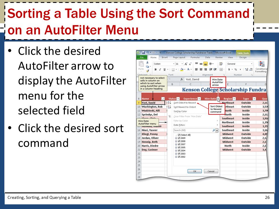 Sorting a Table Using the Sort Command on an AutoFilter Menu
