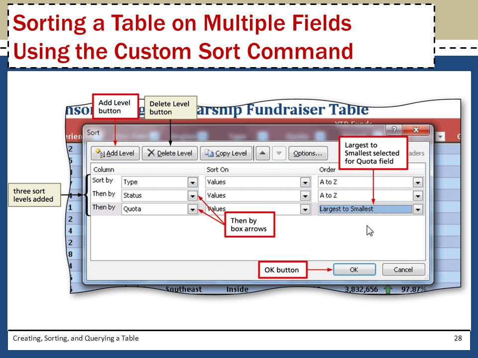 Sorting a Table on Multiple Fields Using the Custom Sort Command