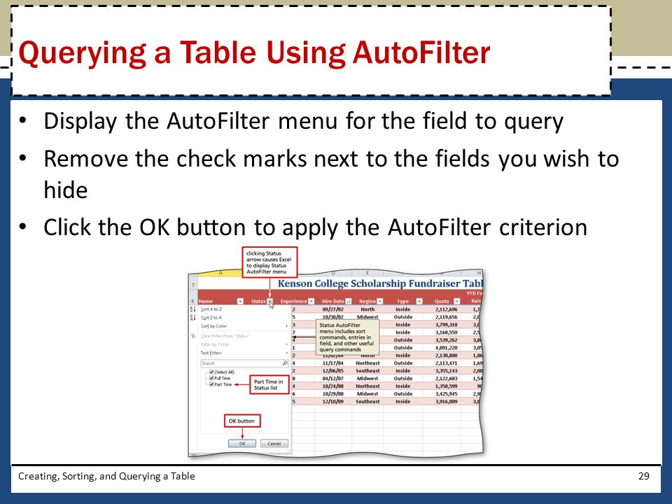 Querying a Table Using AutoFilter