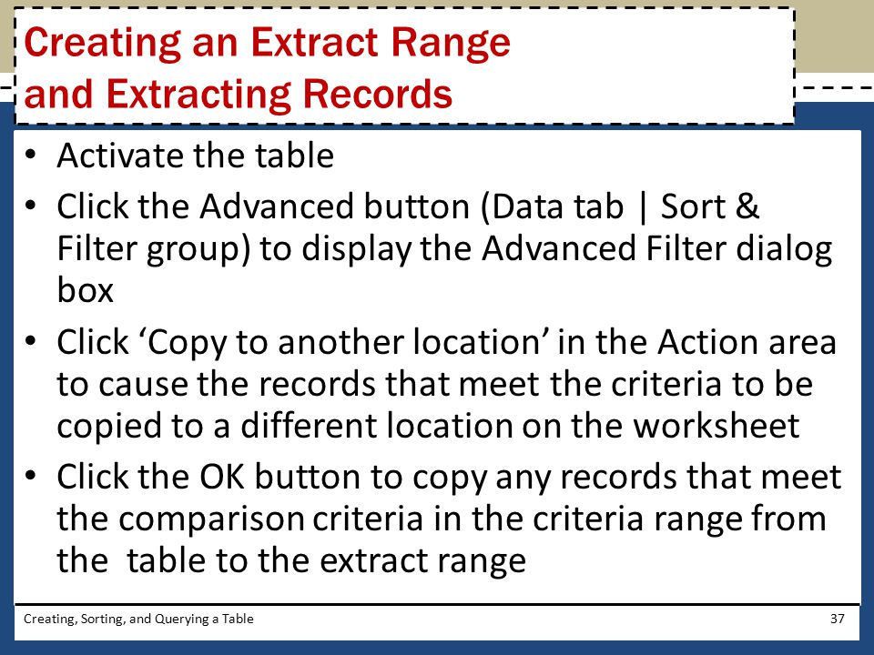 Creating an Extract Range and Extracting Records