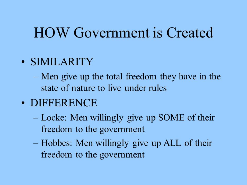 compare and contrast john locke and Thomas hobbes viewed the ideal government as an absolute monarchy, due to the chaos of the state of nature in contrast, john locke's ideal show more locke and hobbes.