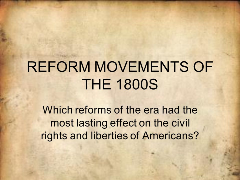 the reform movements of the first Guide to the gun control reform movements the national firearms act of 1934 is the first official piece of legislation regarding gun control.