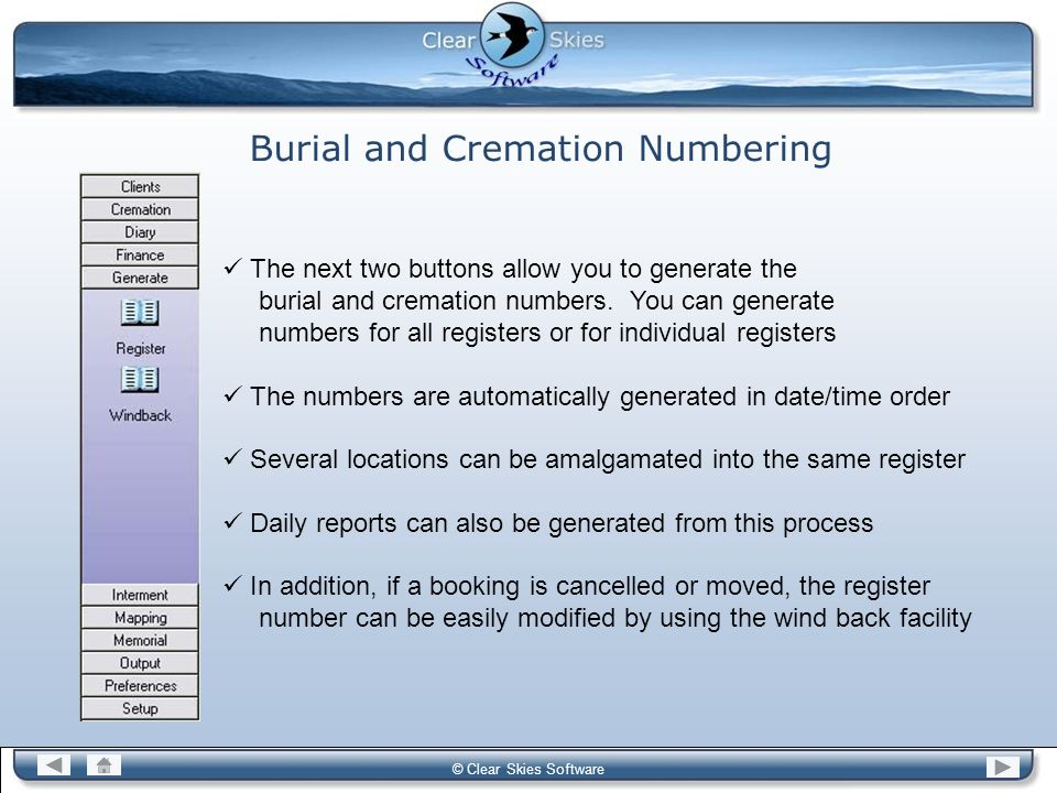 Burial and Cremation Numbering