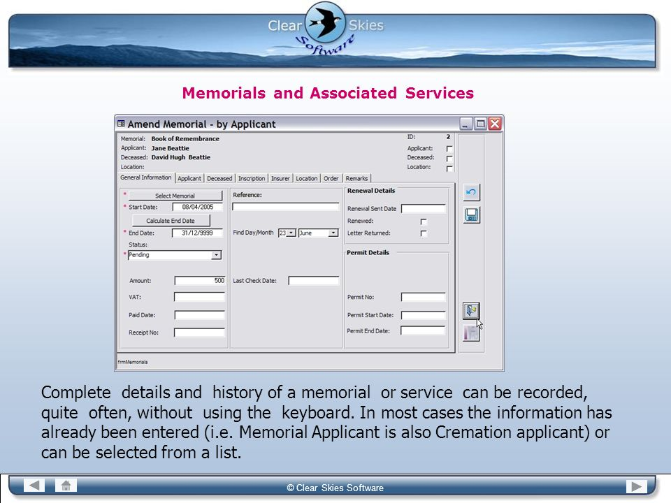 Memorials and Associated Services