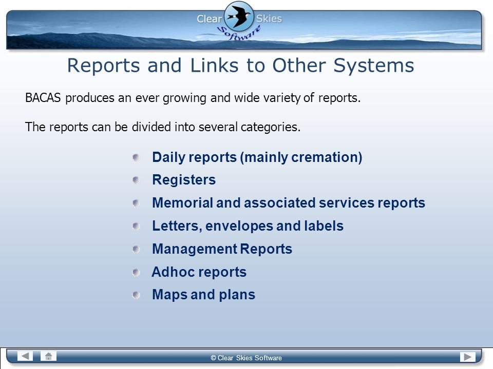 Reports and Links to Other Systems