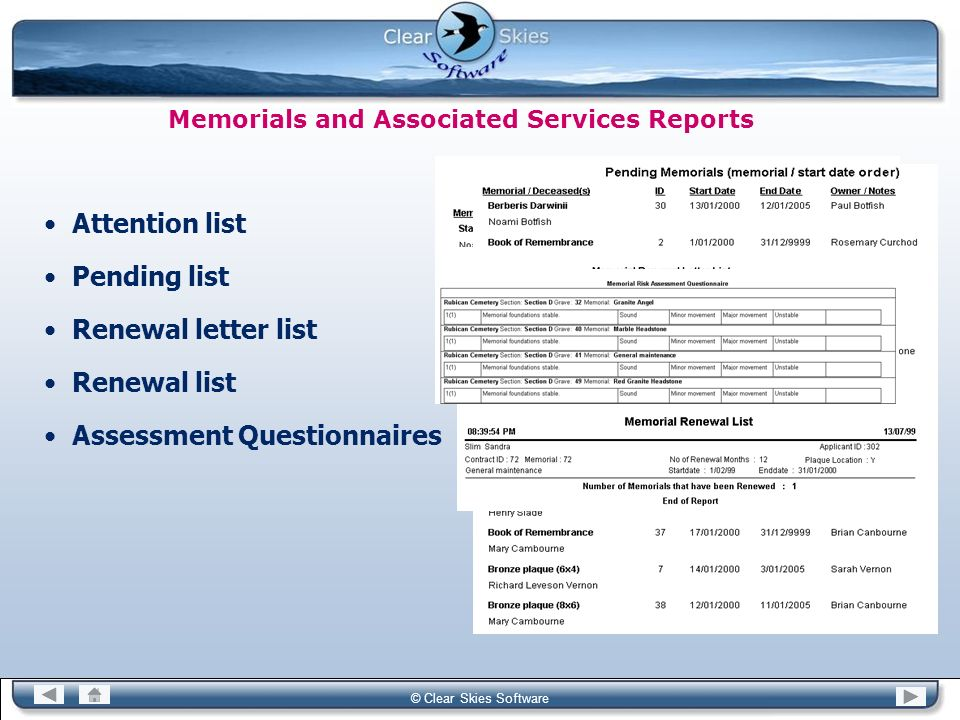 Memorials and Associated Services Reports