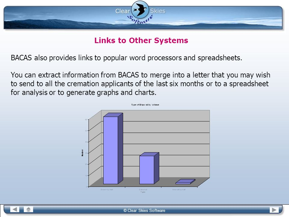 BACAS also provides links to popular word processors and spreadsheets.