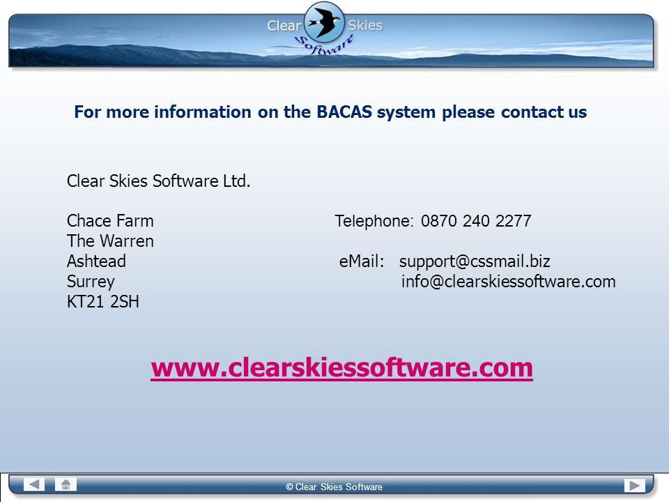 For more information on the BACAS system please contact us