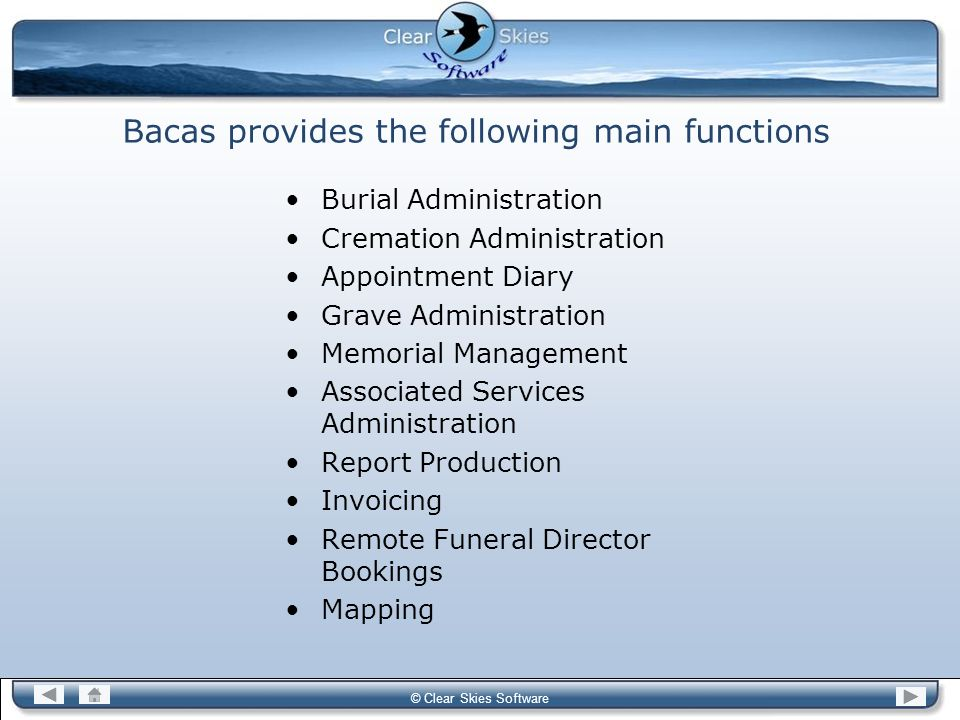 Bacas provides the following main functions