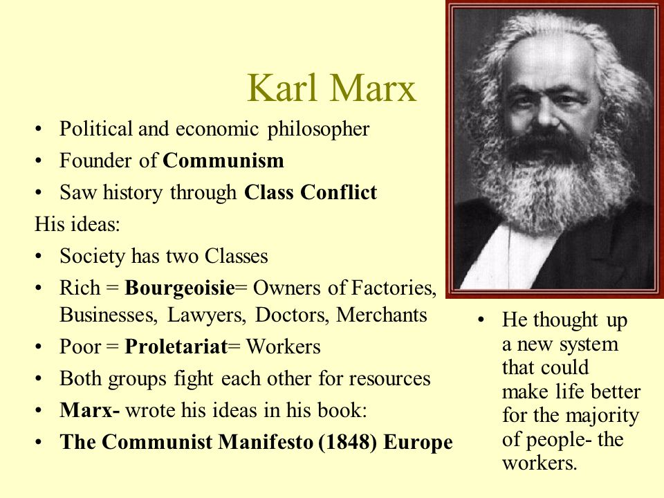 The idea of a classless society in the karl marxs manifesto