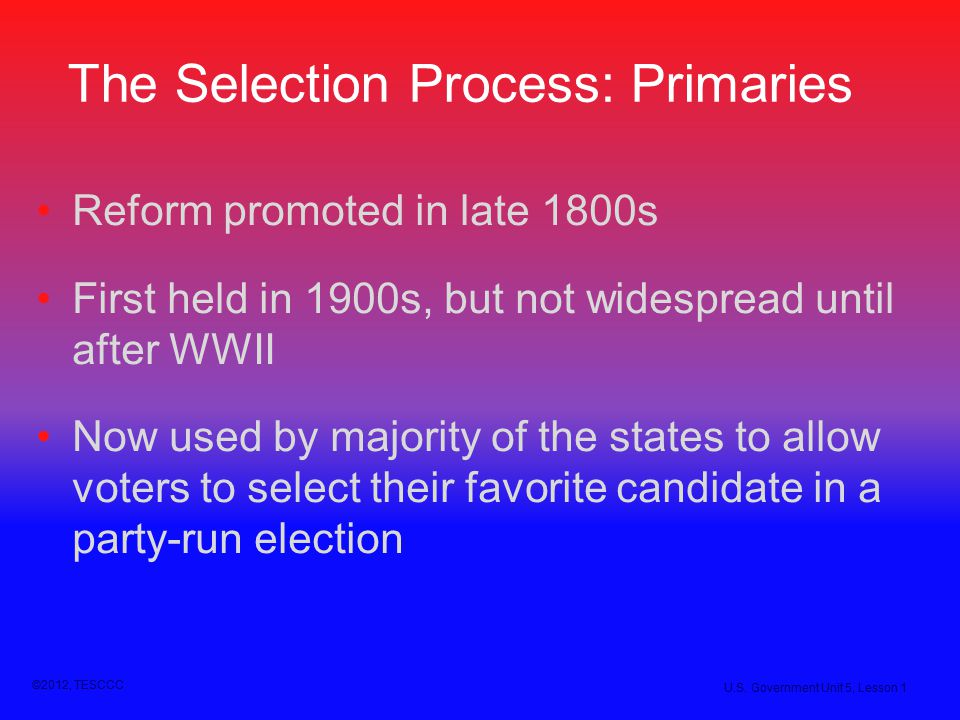 The Selection Process: Primaries