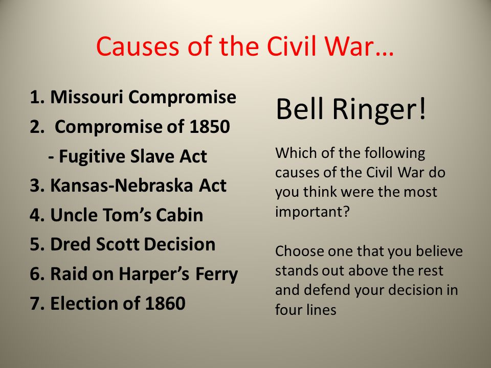 major cause of the civil war fights between slave and non slave proponents