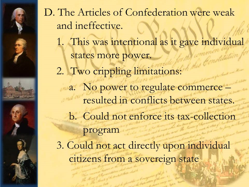 an analysis of the articles of confederation Articles of confederation analyze the degree to which the articles provided an effective form of government with respect to any two of the following: foreign relations, economic conditions, or western lands in 1777, the states enacted the articles of confederation to preserve democracy.