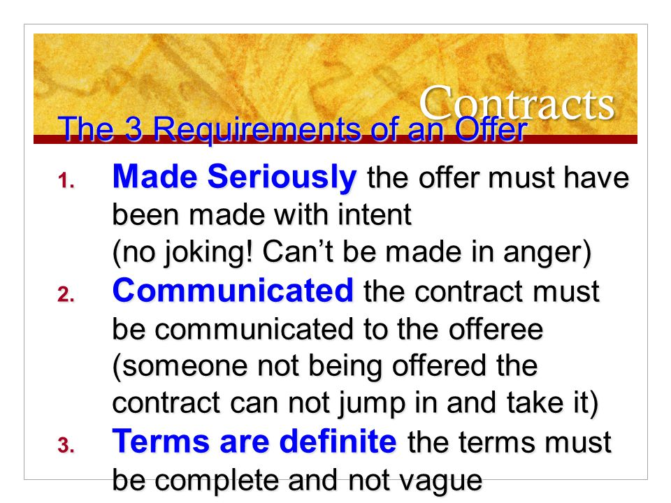 Contracts What Makes A Contract  Ppt Video Online Download