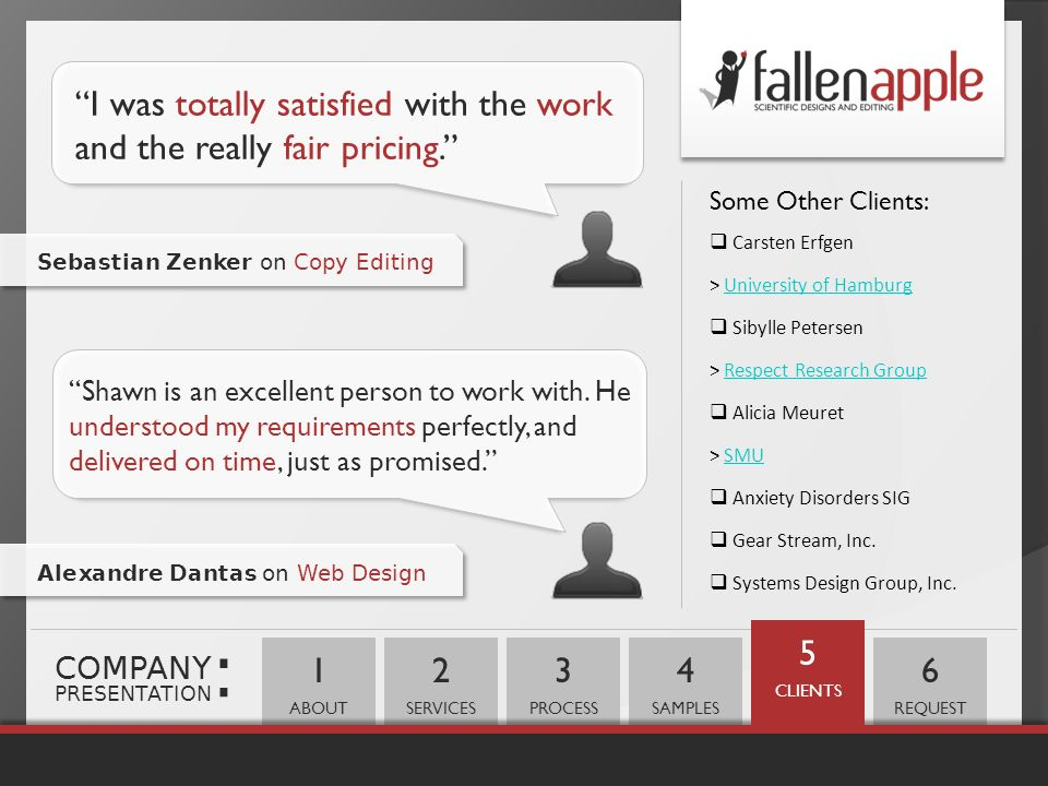 : I was totally satisfied with the work and the really fair pricing.