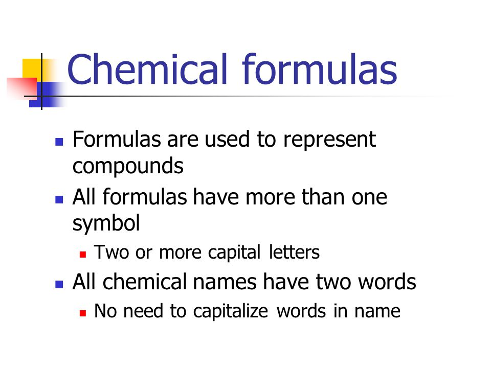 How to write formulas of chemical compounds