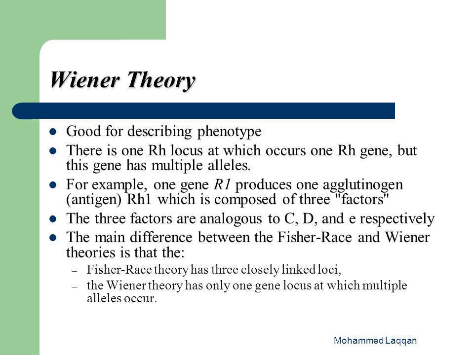 Wiener Theory Good for describing phenotype