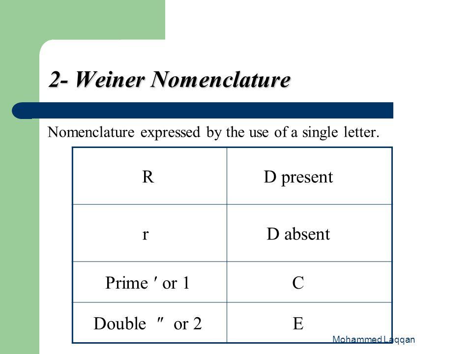 2- Weiner Nomenclature D present R D absent r C Prime ′ or 1 E
