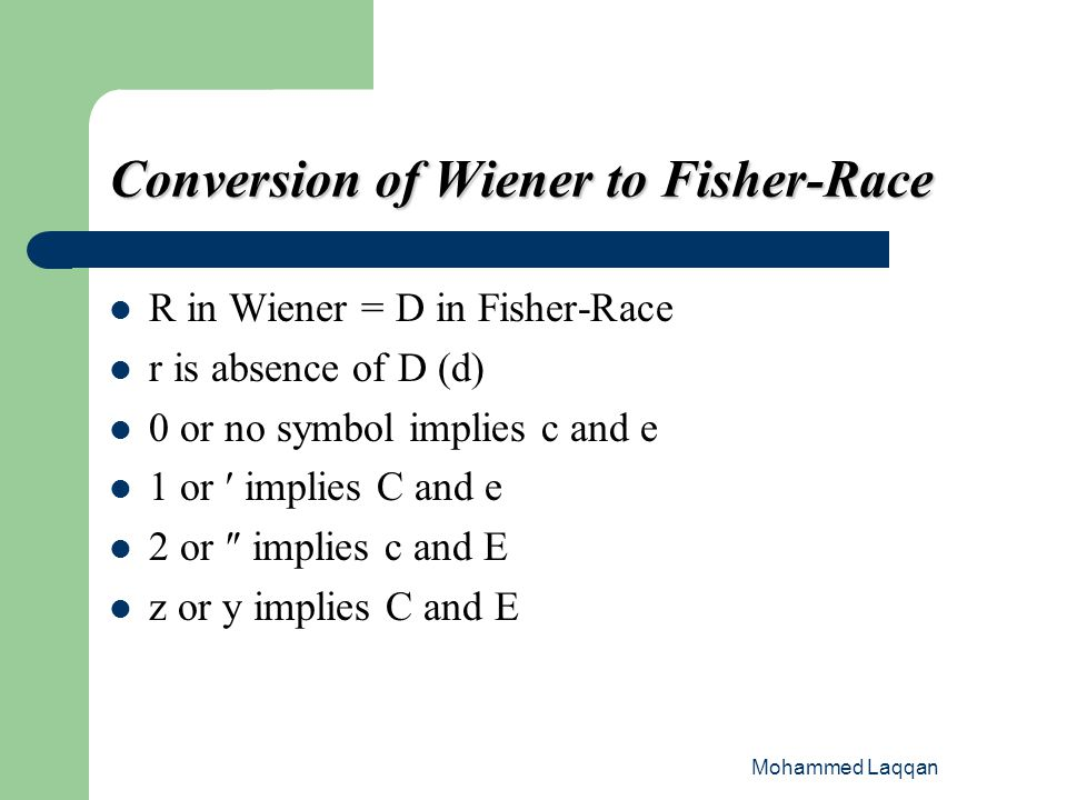 Conversion of Wiener to Fisher-Race
