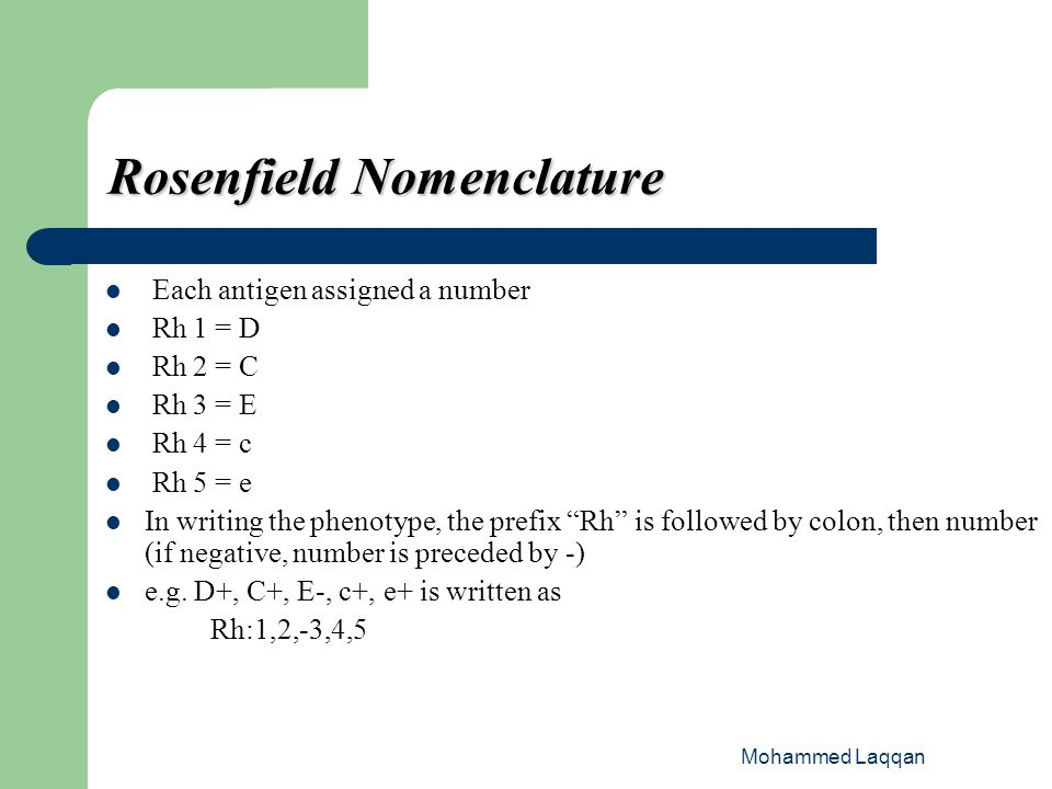 Rosenfield Nomenclature