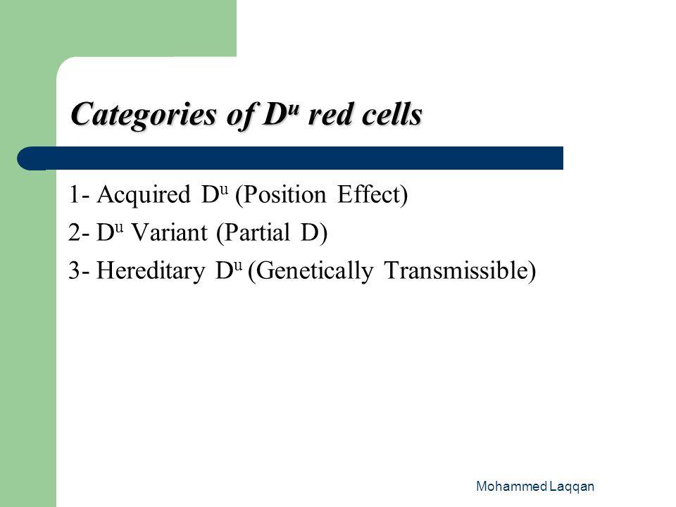 Categories of Du red cells