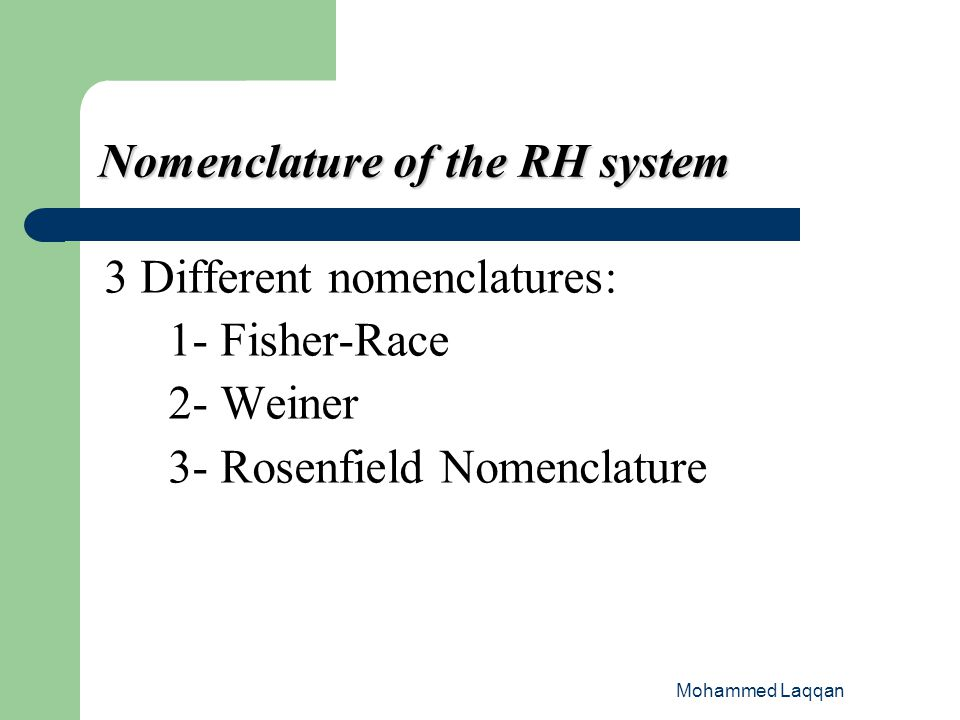 Nomenclature of the RH system