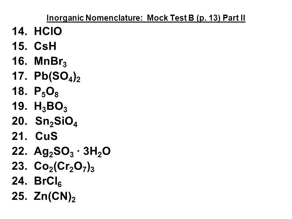 Nomenclature Mock Test B Key ppt download – Inorganic Nomenclature Worksheet