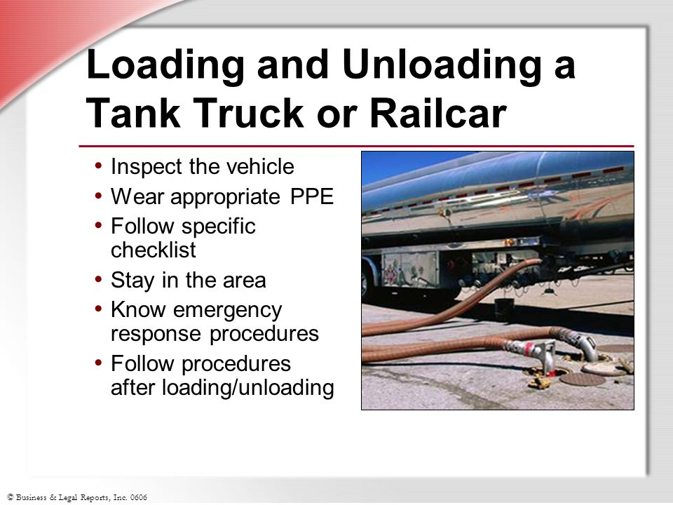 Loading and Unloading a Tank Truck or Railcar
