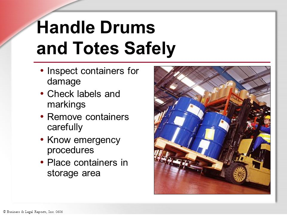 Handle Drums and Totes Safely