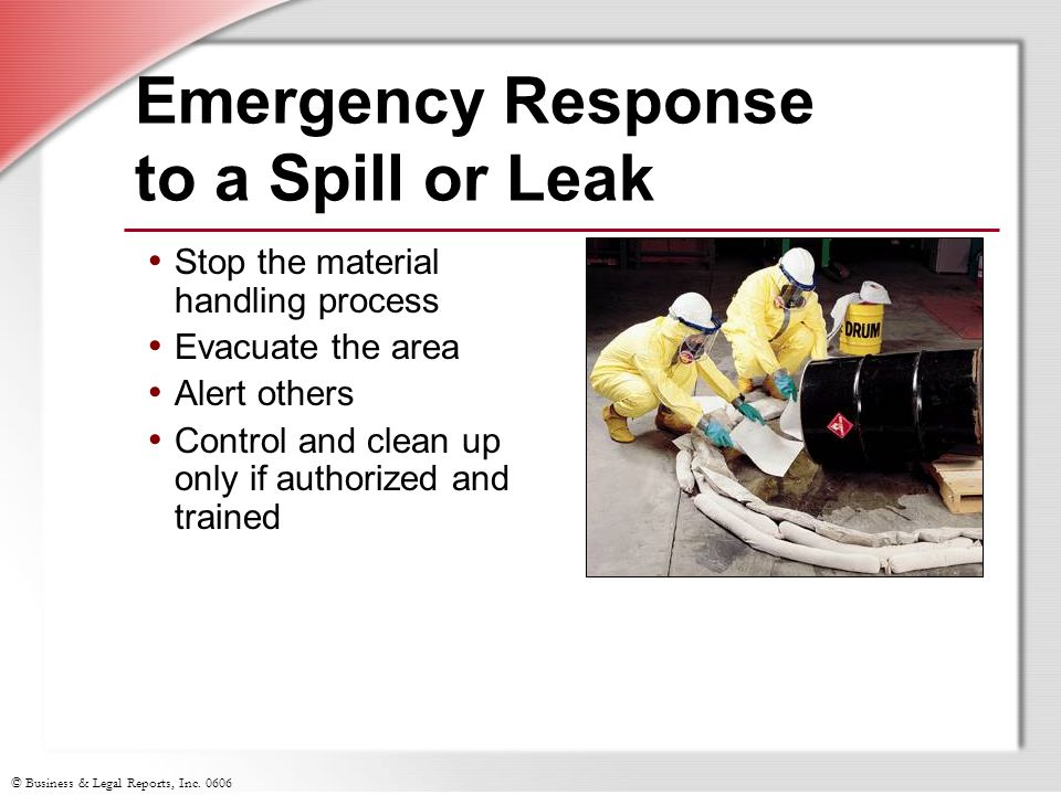 Emergency Response to a Spill or Leak