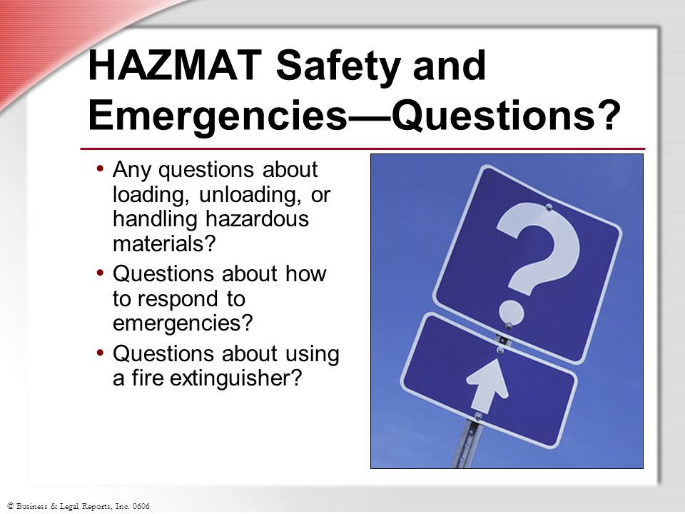 HAZMAT Safety and Emergencies—Questions