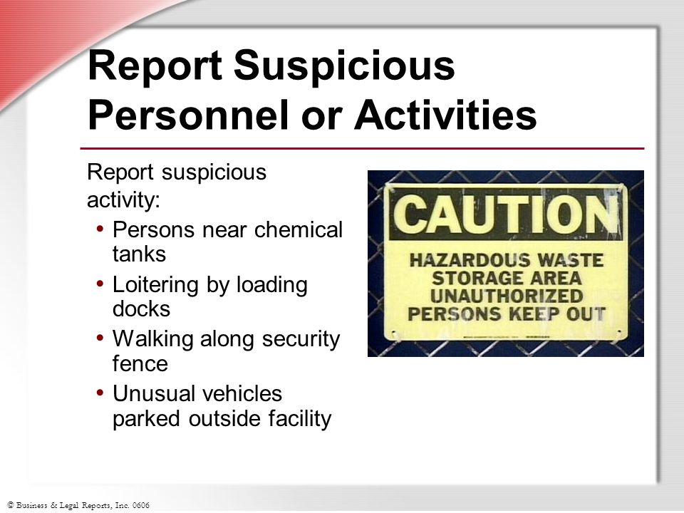 Report Suspicious Personnel or Activities