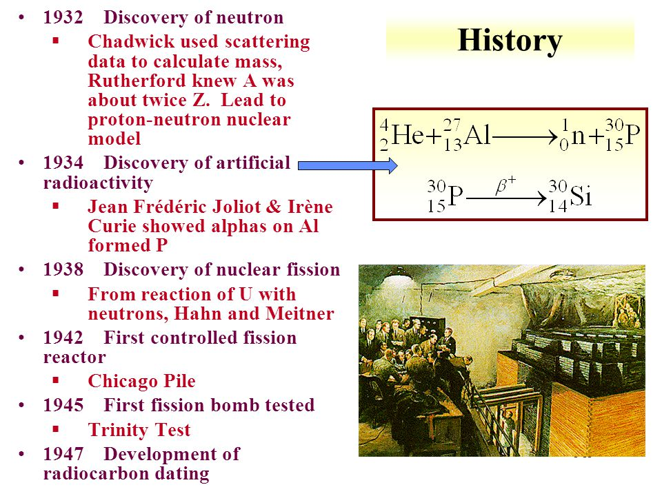 History 1932 Discovery of neutron
