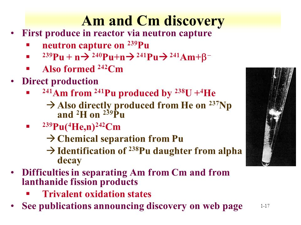 Am and Cm discovery First produce in reactor via neutron capture