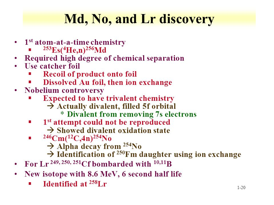 Md, No, and Lr discovery 1st atom-at-a-time chemistry