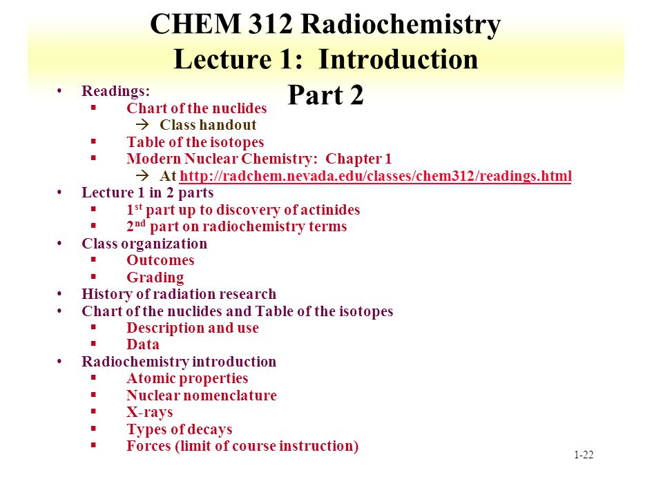 CHEM 312 Radiochemistry Lecture 1: Introduction Part 2