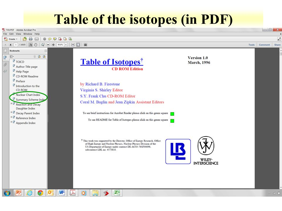Table of the isotopes (in PDF)