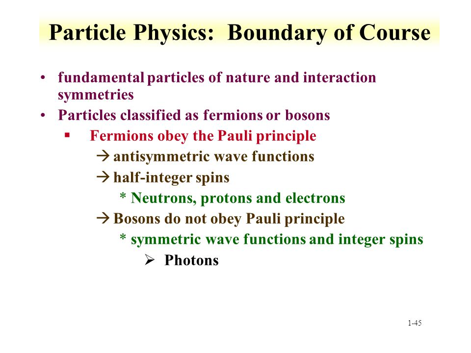 Particle Physics: Boundary of Course