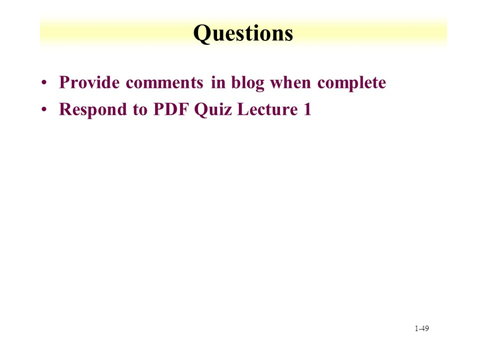 Questions Provide comments in blog when complete