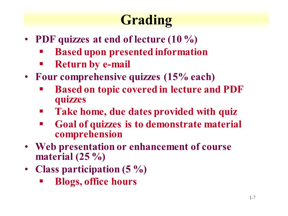 Grading PDF quizzes at end of lecture (10 %)