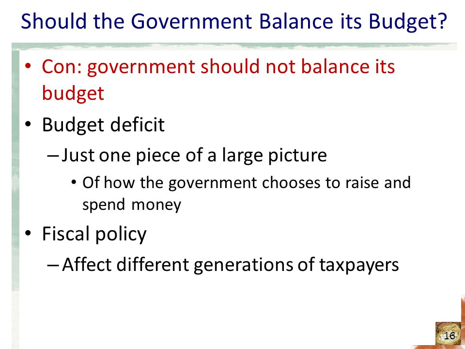 should the government be required to balance its budget The federal government should have to balance its books  which required a two  and should live within its means a balanced-budget amendment.