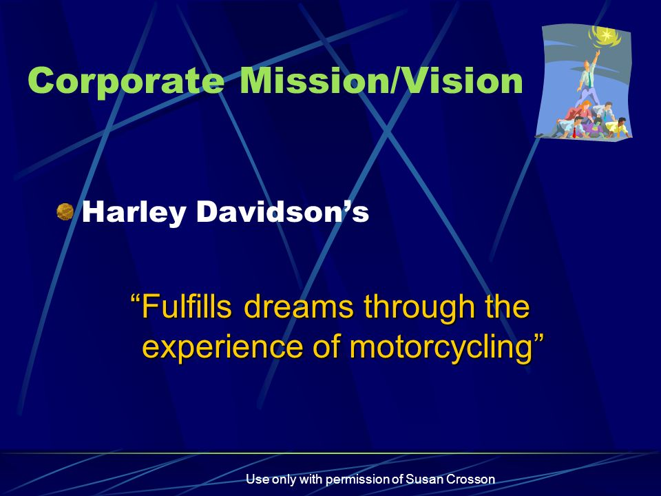 mission vision values harley davidson The mission of fort worth harley-davidson® is dedication to the highest quality of customer service delivered through a family-oriented, integrity-based, quality-trained, fun lifestyle dealership.