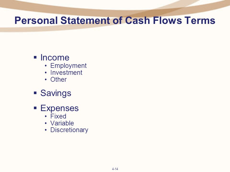 personal statement of cash flows