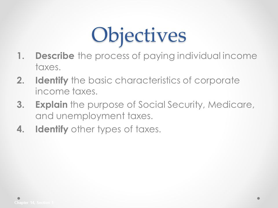 Objectives Describe the process of paying individual income taxes.