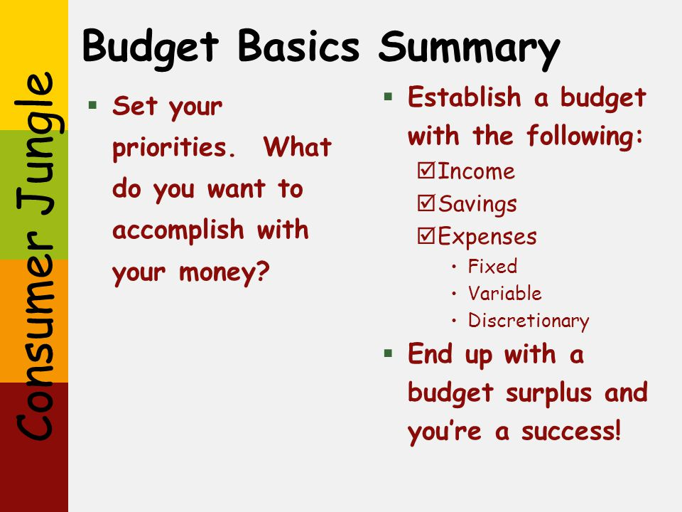 Budget Basics Summary Establish a budget with the following: