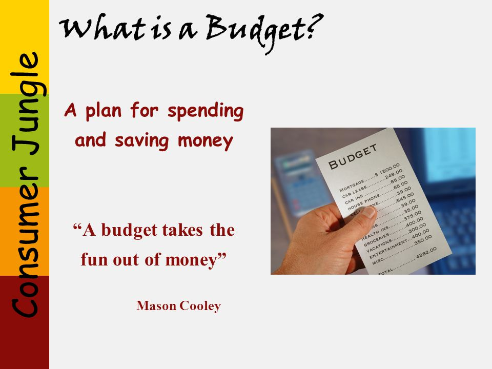 What is a Budget A plan for spending and saving money