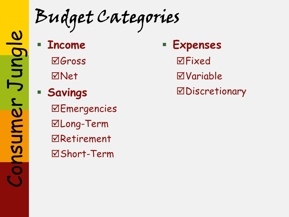 Budget Categories Income Savings Expenses Gross Net Emergencies