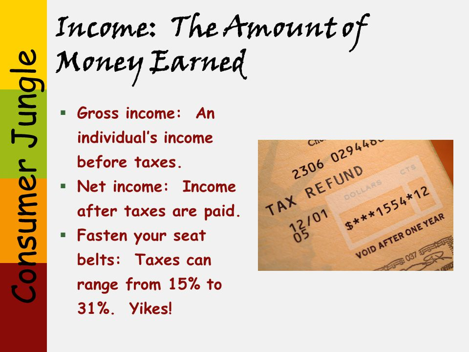 Income: The Amount of Money Earned
