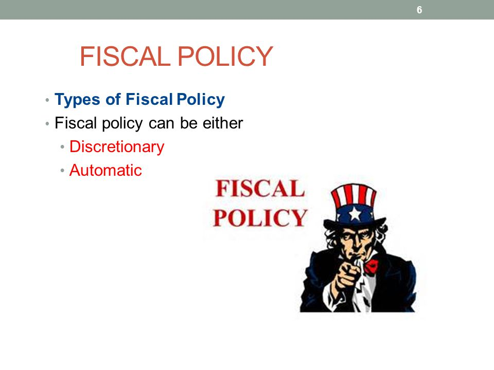 FISCAL POLICY Types of Fiscal Policy Fiscal policy can be either